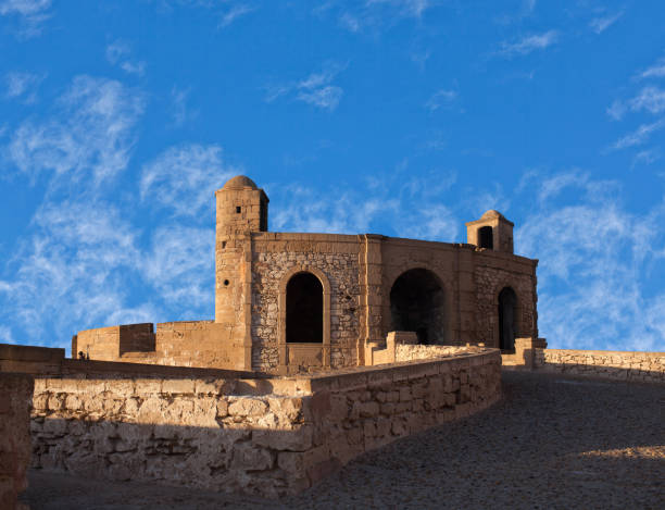 Ancient fortress at sunset in Essaouira, Morocco stock photo