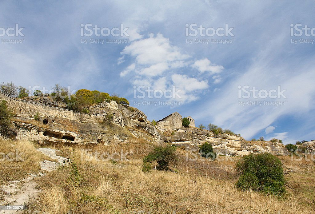 Ancient fortress of Calais in Crimea stock photo