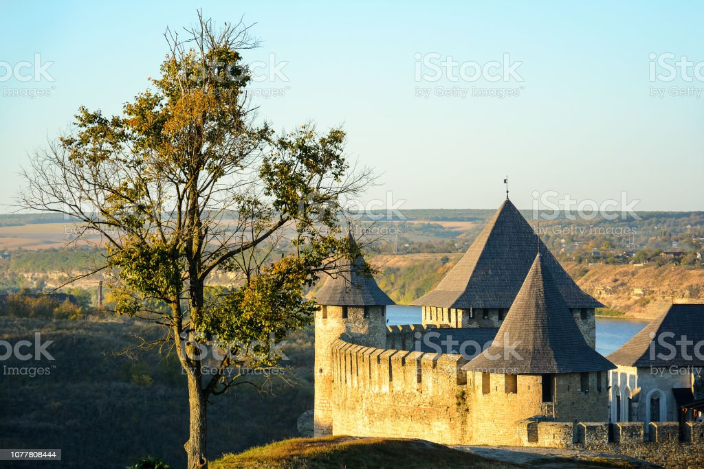 Ancient fortress on the banks of the Dnister River, Khotyn Fortress,...