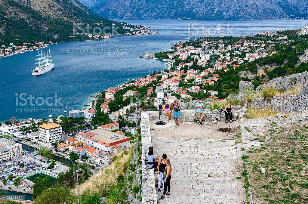 Ancient fortress walls above Kotor and Bay of Kotor, Montenegro stock photo