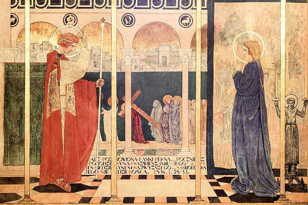 ancient fresco in the armenian cathedral of lviv - gothic bilder stock-fotos und bilder