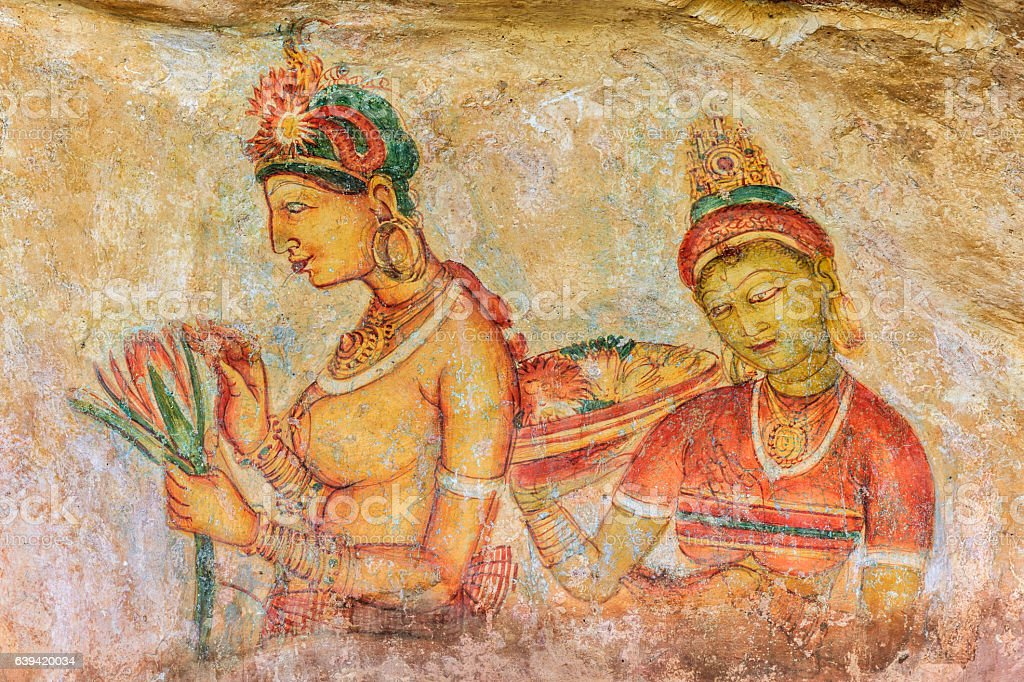 Ancient fresco in the cave temple, Sigiriya, Sri Lanka stock photo