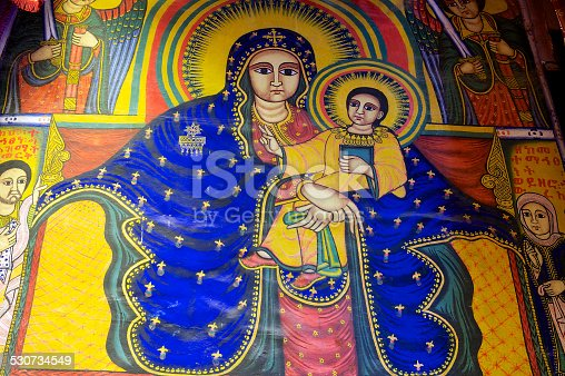 istock Ancient fresco in the church, Aksum, Ethiopia. 530734549