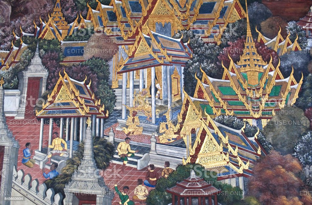 Ancient fresco painting in Grand Palace in Bangkok, Thailand stock photo