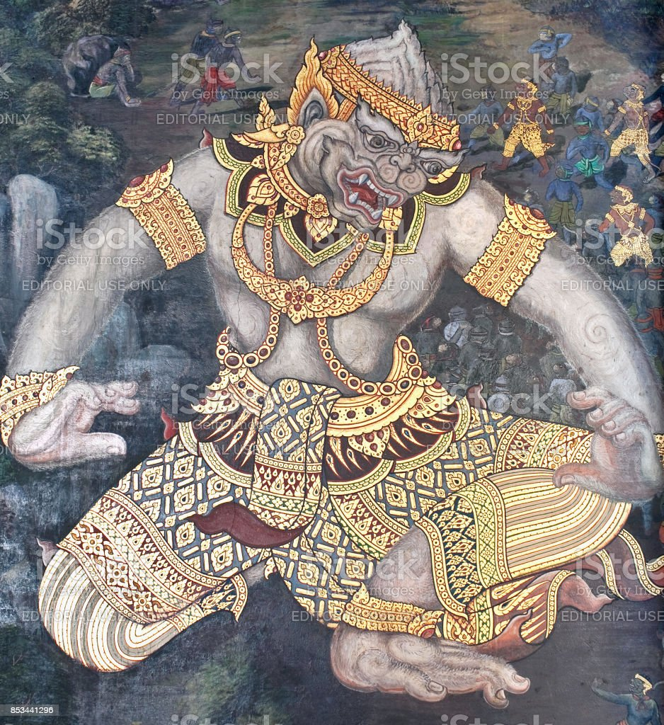 ancient fresco painting in grand palace in bangkok thailand stock