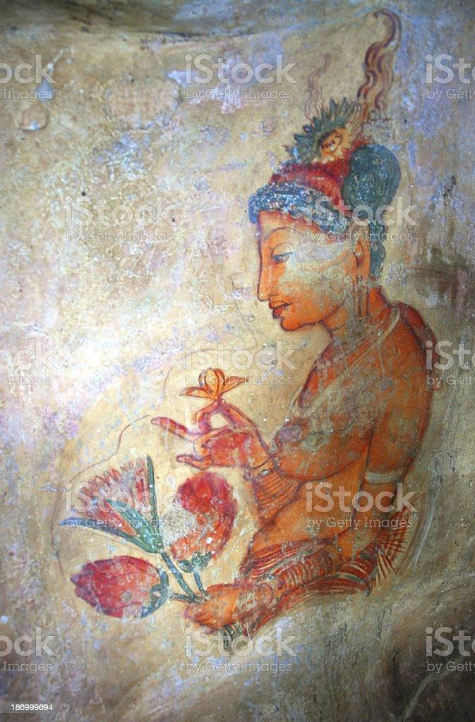 ancient frescos on mount Sigiriya royalty-free stock photo