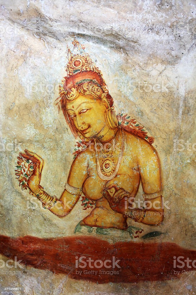 ancient frescos on mount Sigiriya, Sri Lanka ( Ceylon ). royalty-free stock photo