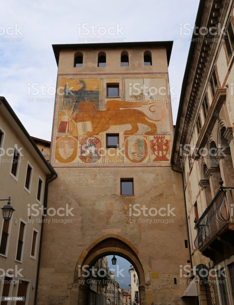 Ancient Gate in Bassano del Grappa a small town near Vicenza ITaly called PORTA DIEDA in Italian Language - foto stock