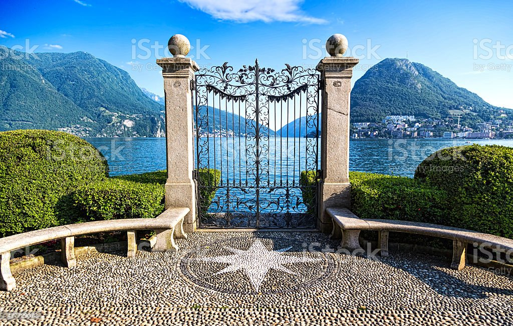 Ancient gate of Ciani Park stock photo