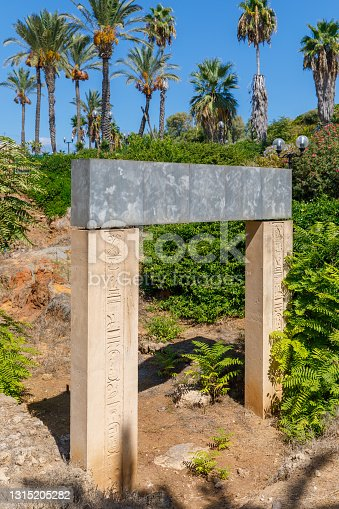 Ancient gate of times of the Pharaoh Ramesses II excavated in Yaffa, Israel