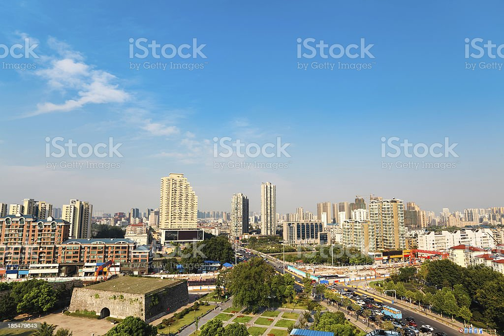ancient  gate ruins with modern city royalty-free stock photo
