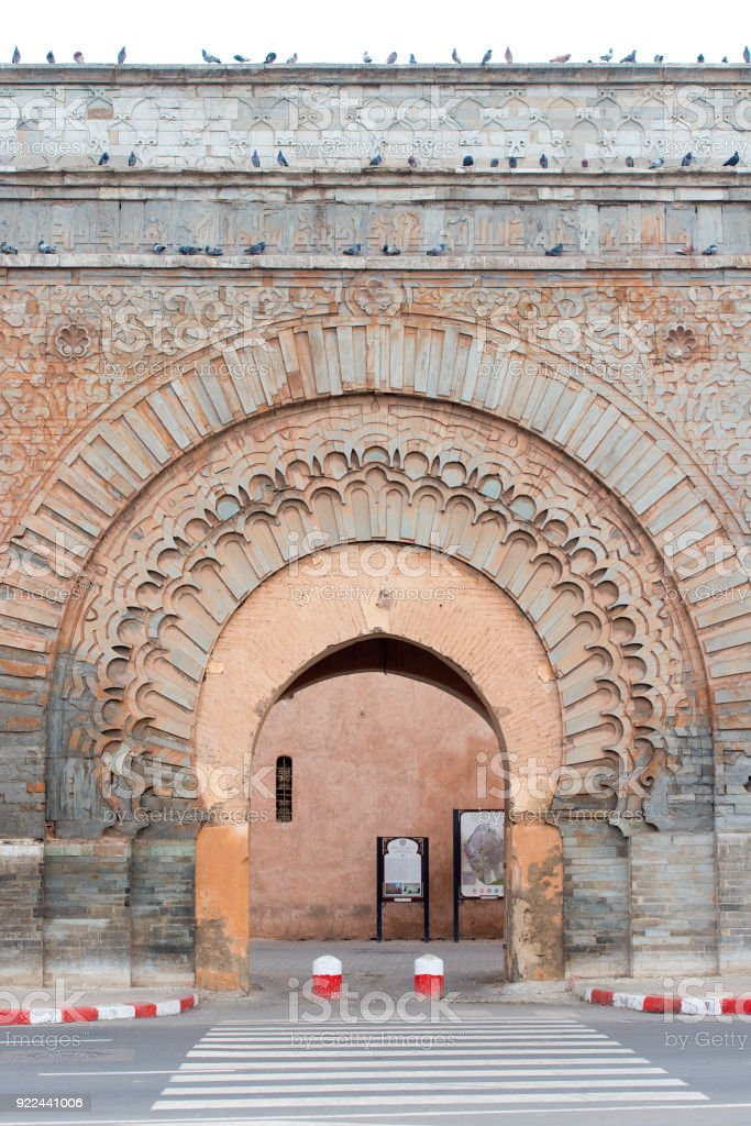 Ancient gate to the old medina district in Marrakech stock photo