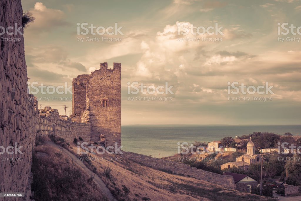 Ancient Genoese fortress in Crimea stock photo