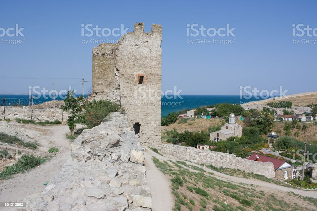 Ancient Genoese fortress in Feodosiya in the Crimea stock photo