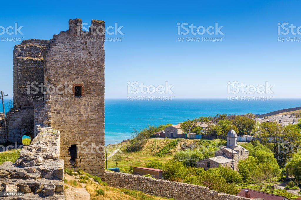 Ancient Genoese fortress stock photo