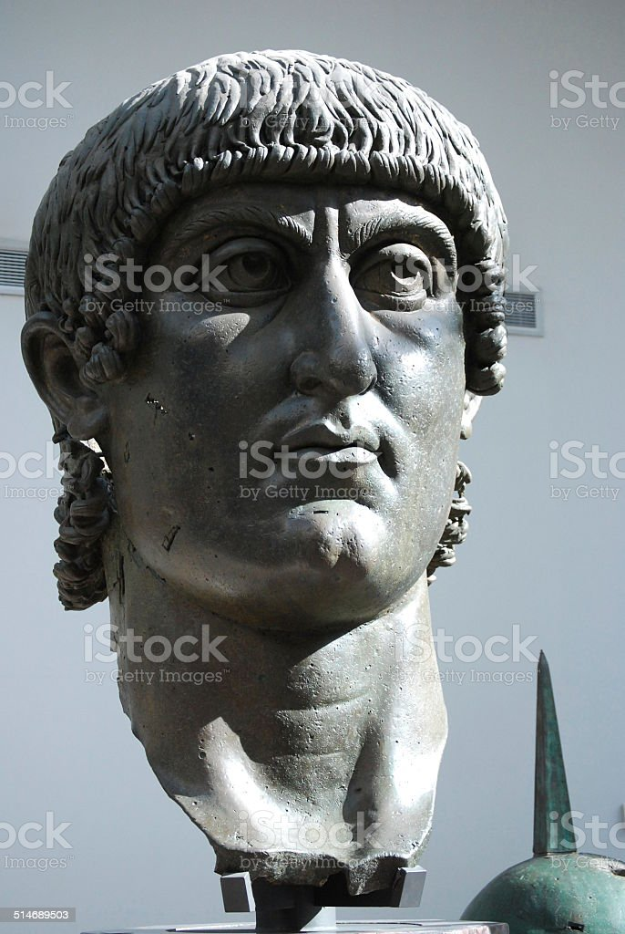 Ancient Gigantic Bronze head of Emperor Constantine in Rome Italy stock photo