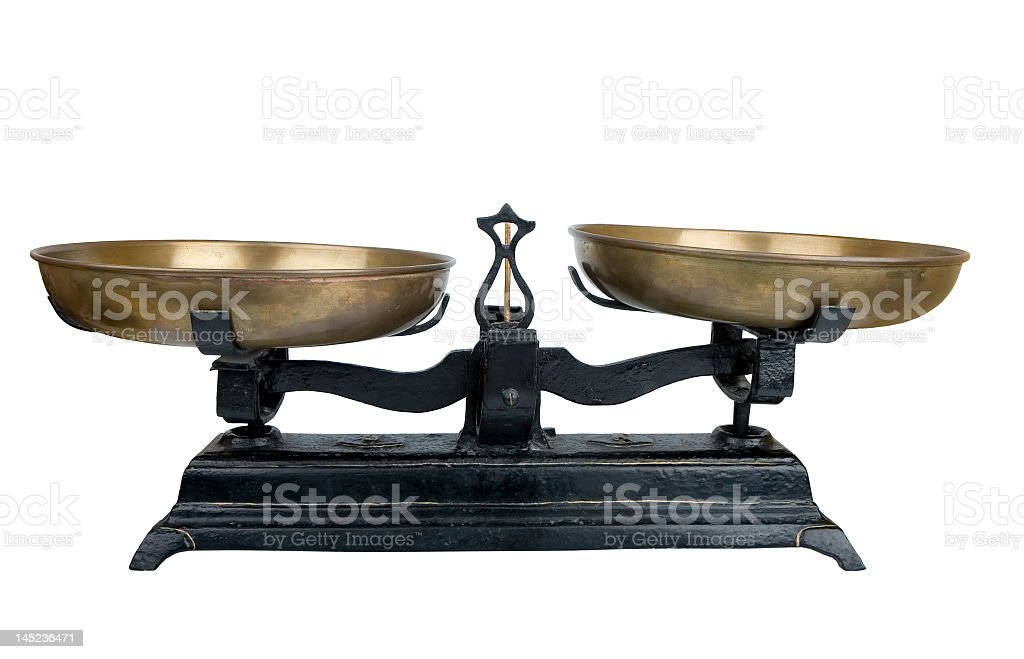 Ancient gold balance scale isolated on white royalty-free stock photo