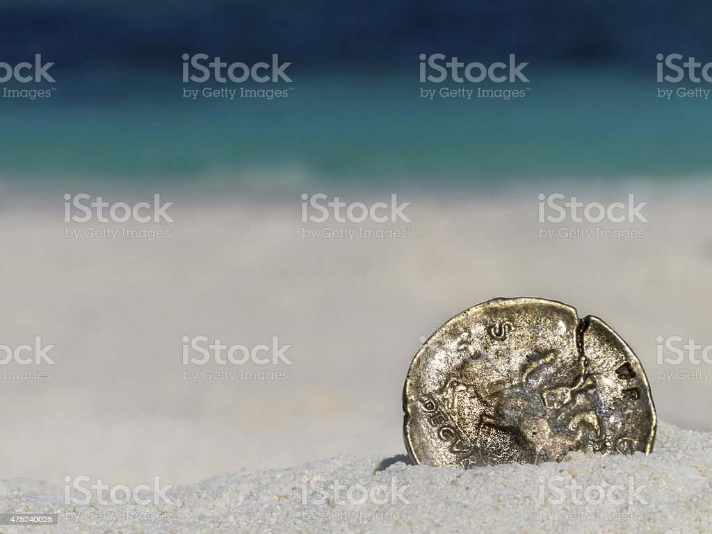 Ancient gold  coin stock photo