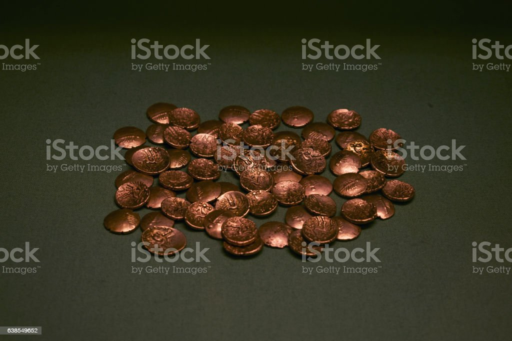 Ancient Gold coins hoard stock photo