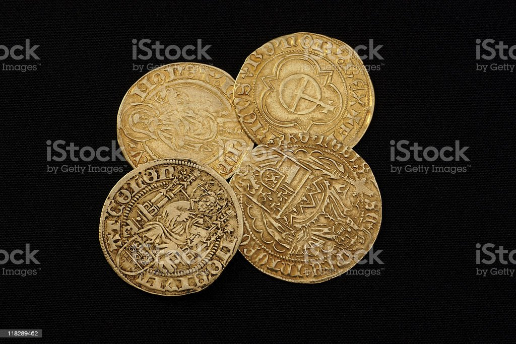 Ancient gold coins royalty-free stock photo