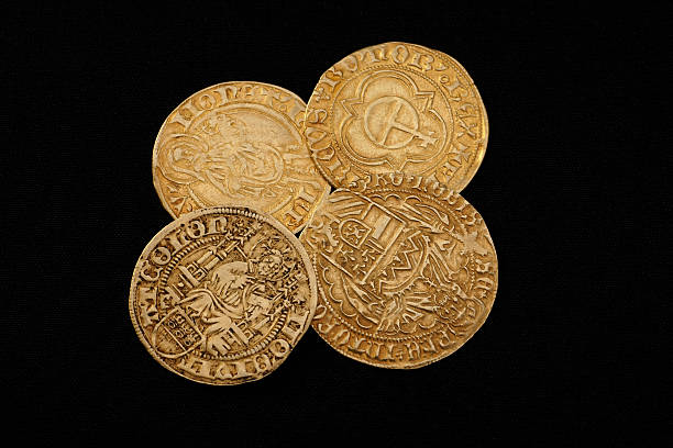 Ancient gold coins stock photo
