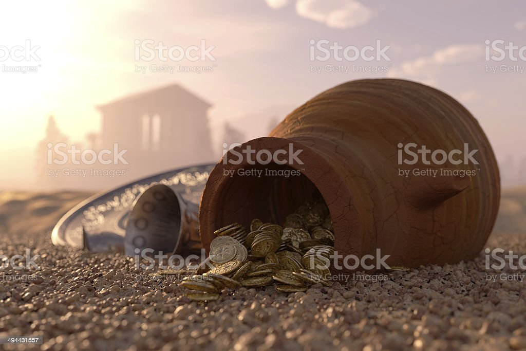 ancient gold coins treasure concept background stock photo