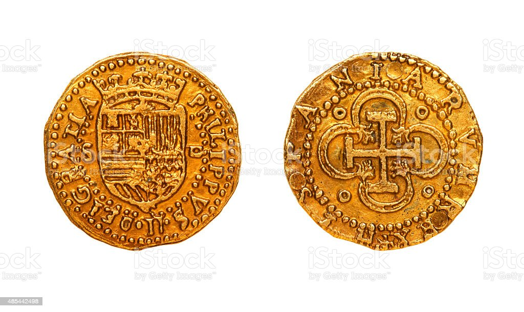 ancient golden coin stock photo