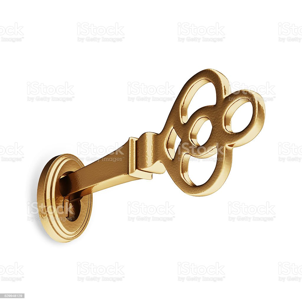 3D Ancient Golden Key stock photo