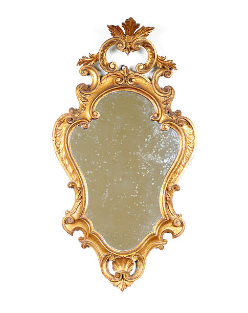 ancient golden mirror isolated - man made object stock photos and pictures