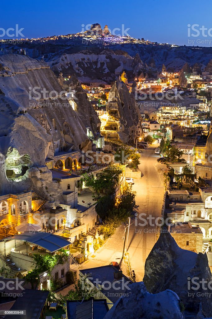 Ancient Goreme town and castle of Uchisar at night stock photo