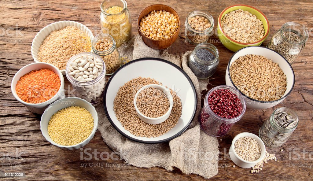 Ancient grains, seeds, beans stock photo