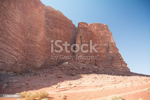 Ancient grand castle, Architecture Built in red rock fortress, desert