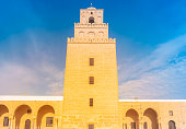 Ancient Great Mosque in Kairouan in Sahara Desert, Tunisia, Africa. An important destination in Tunisia and Northern Africa.