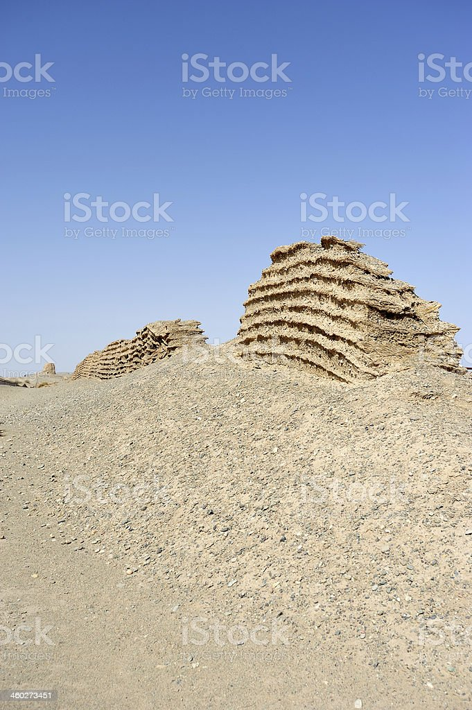 Ancient great wall for Han Dynasty stock photo