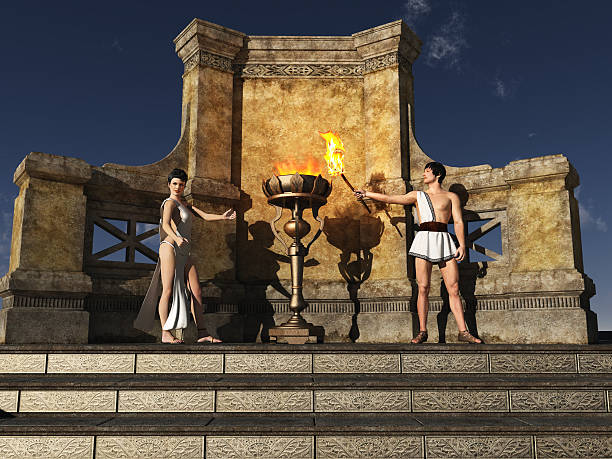 Ancient Grecian flame lighting ceremony stock photo