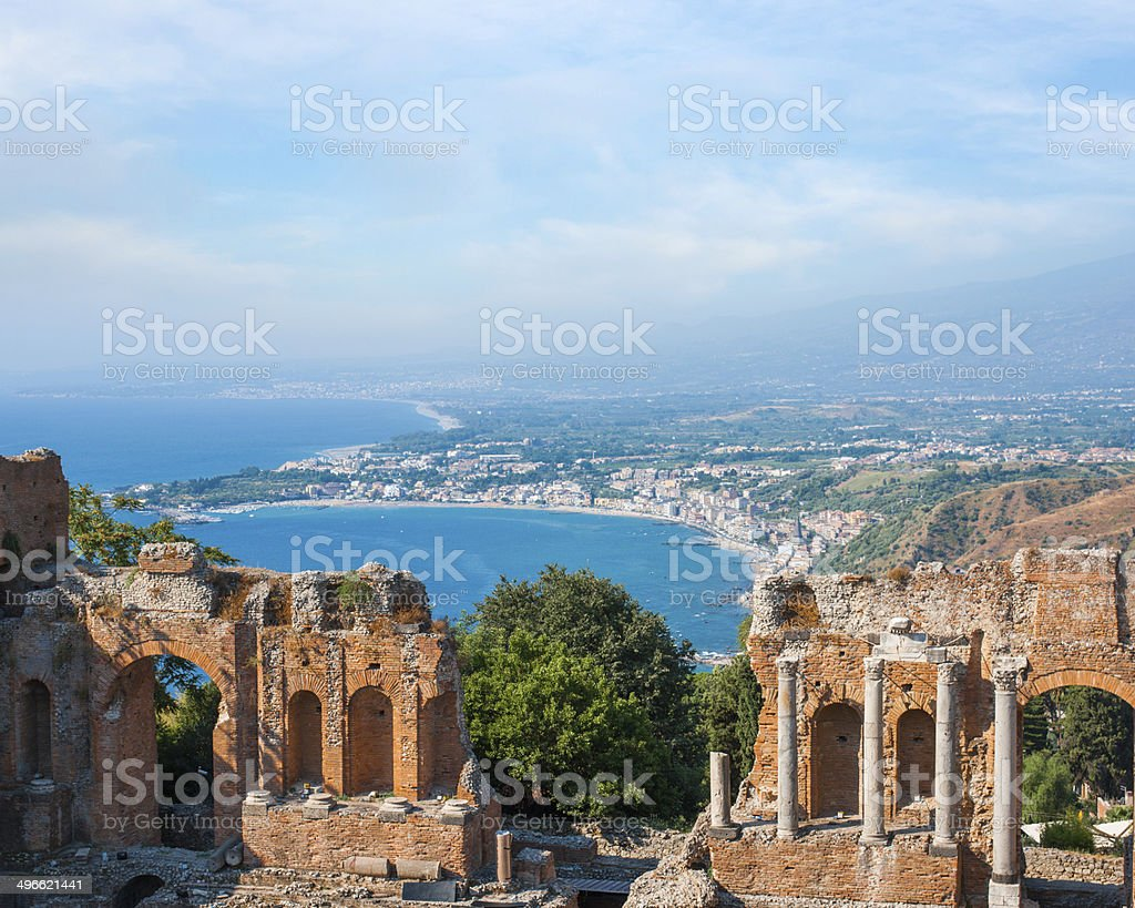 Ancient greek amphitheatre in Taormina city stock photo