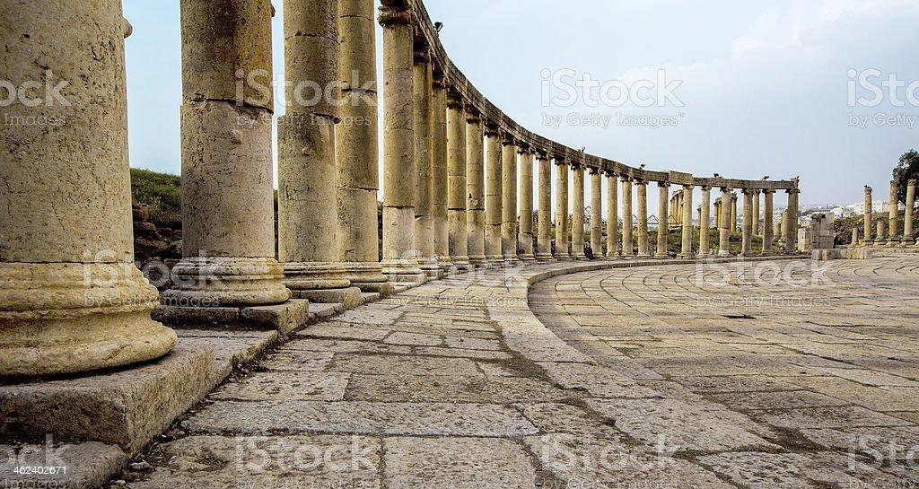 Ancient Greek and Roman columns in Jerash, Jordan stock photo