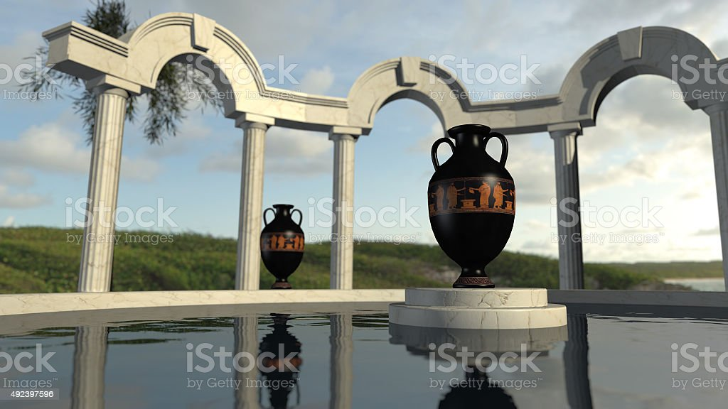 Ancient greek architecture at a pond stock photo