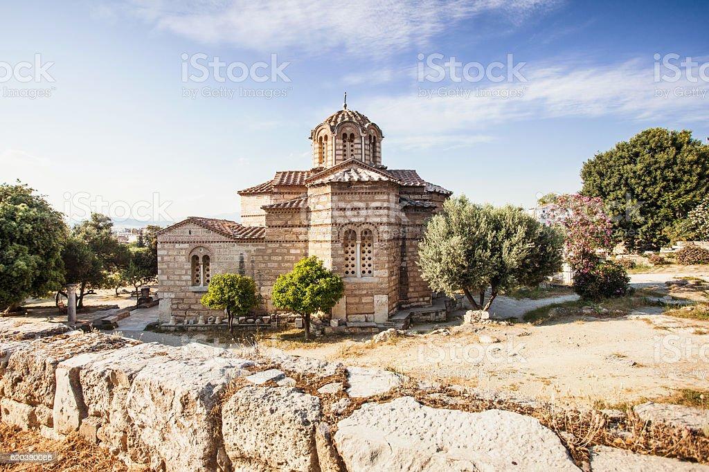 Ancient Greek church, Plaka district, Athens stock photo