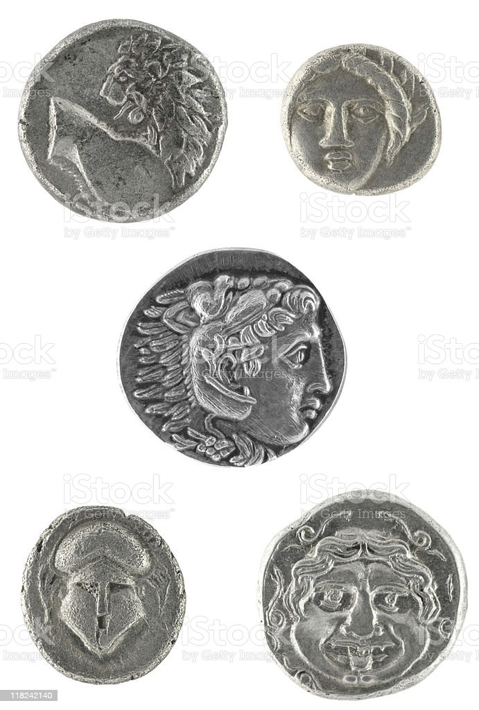 Ancient Greek Coins stock photo