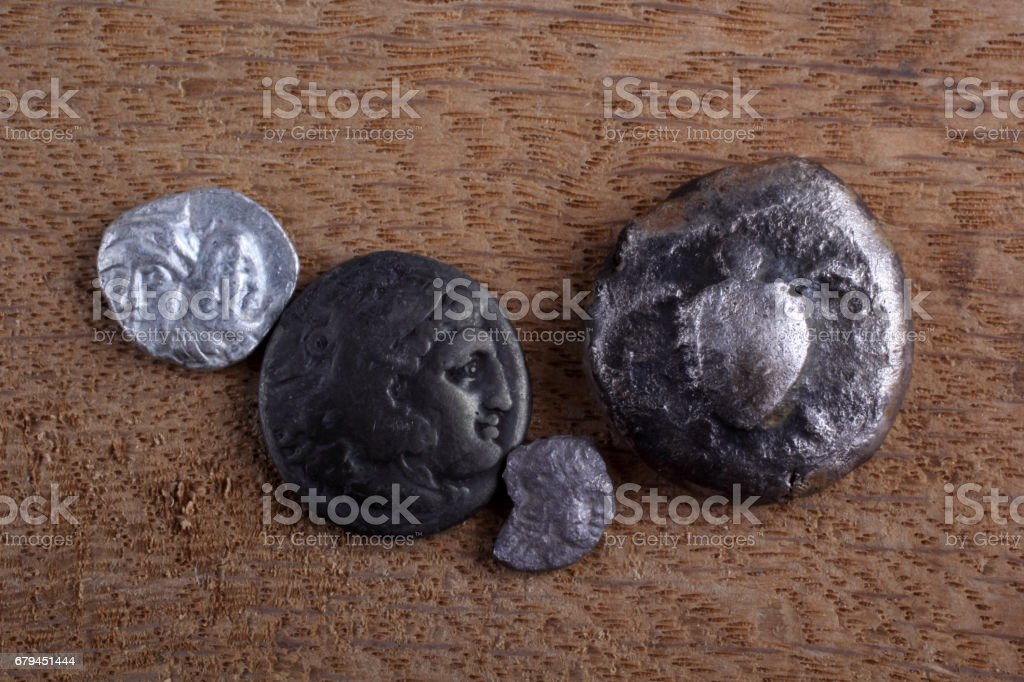Ancient Greek coins royalty-free stock photo