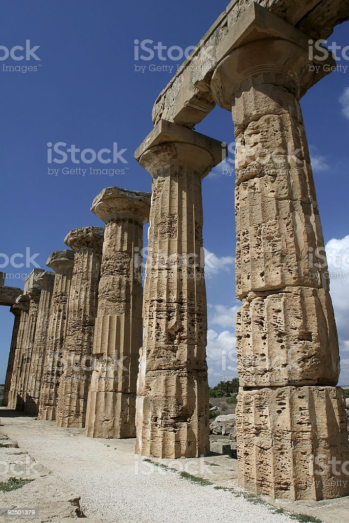 Ancient Greek Columns in Italy royalty-free stock photo