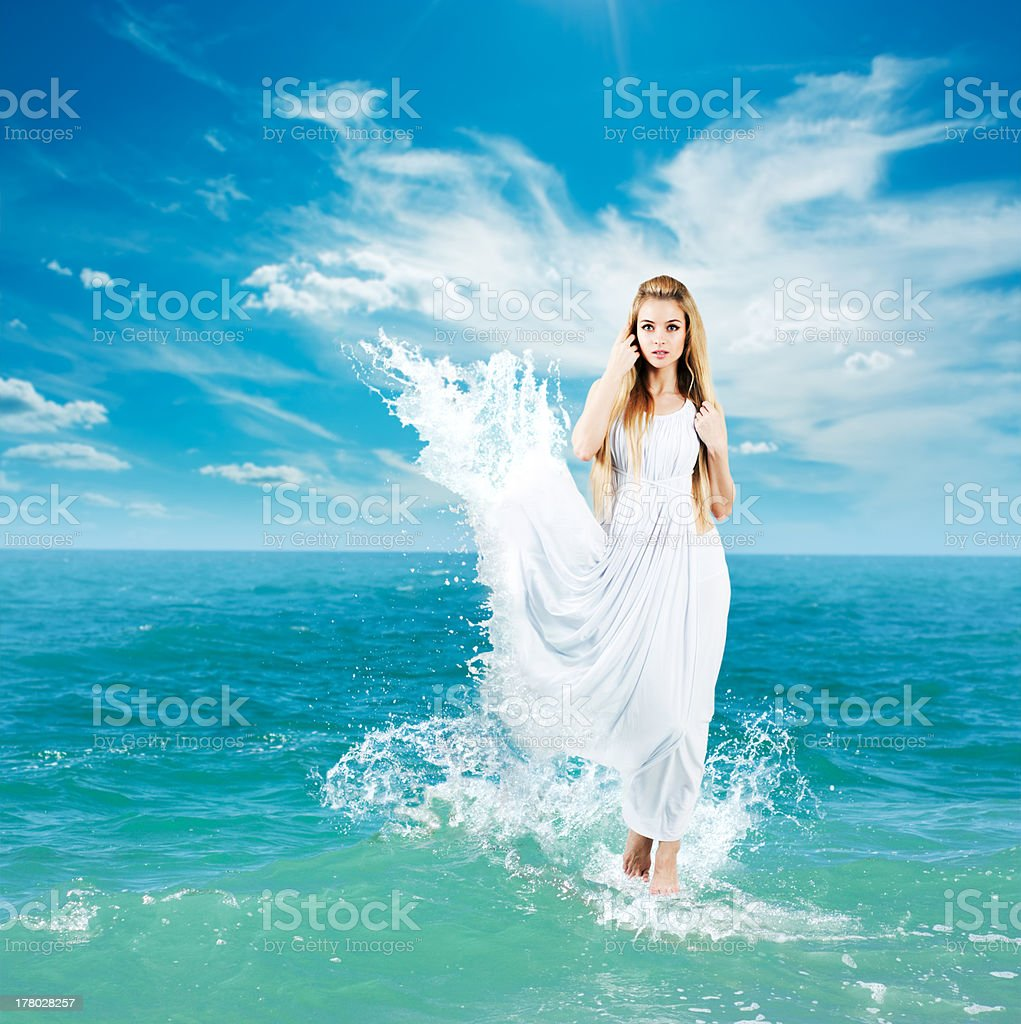 Ancient Greek Goddess in Sea Waves stock photo