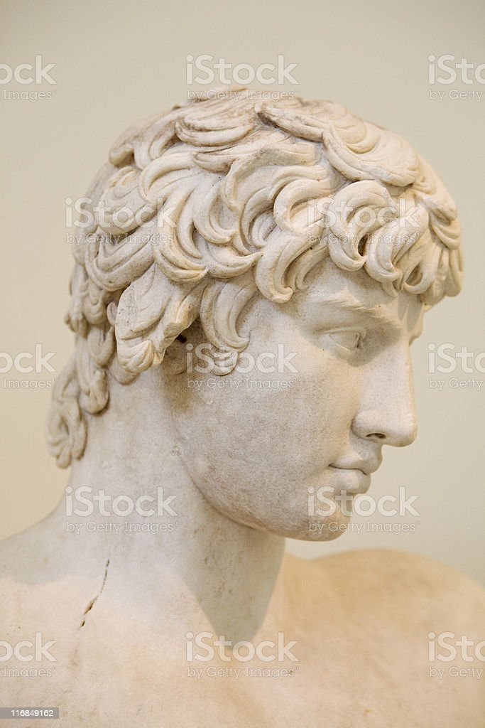 Ancient Greek Marble bust of Antinoos royalty-free stock photo