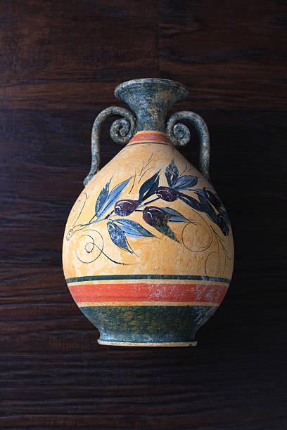 ancient greek orange vase stock photo