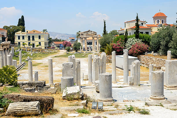 ancient greek ruins - the ancient agora in athens, greece - プラカ ストックフォトと画像