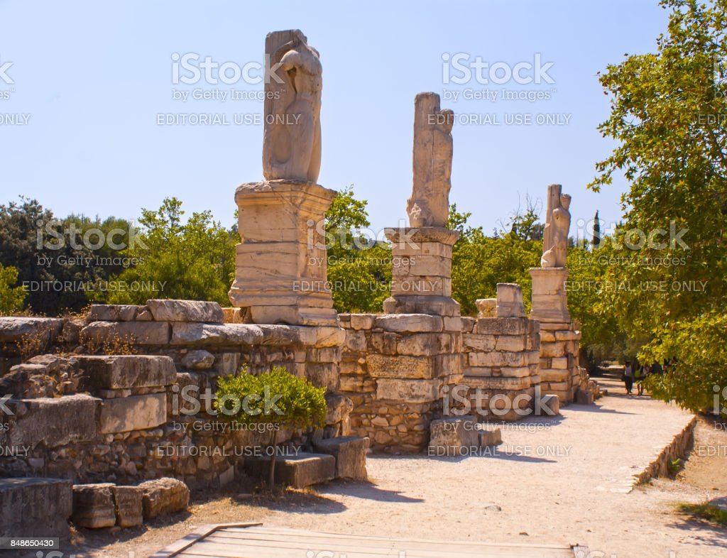 ancient Greek statues in Athens stock photo