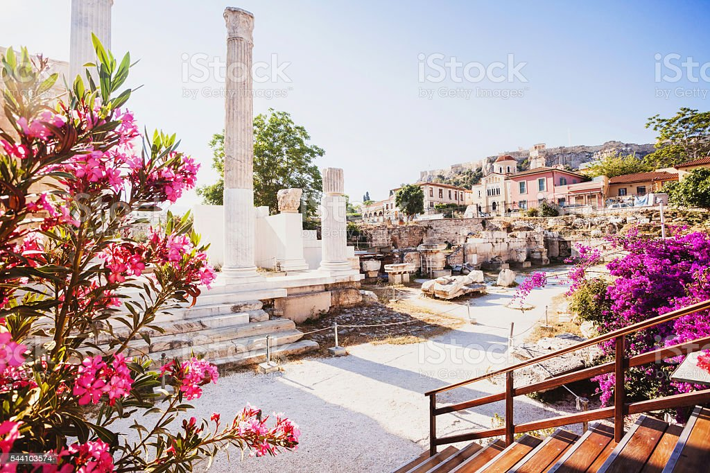Ancient Greek street, Plaka district, Athens stock photo