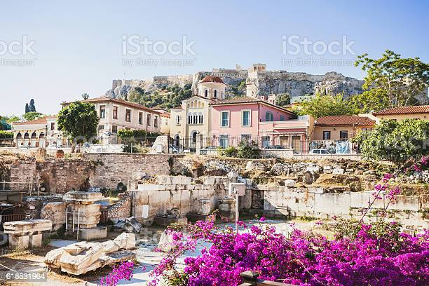 View of ancient greek street, Plaka district, Athens, Greece