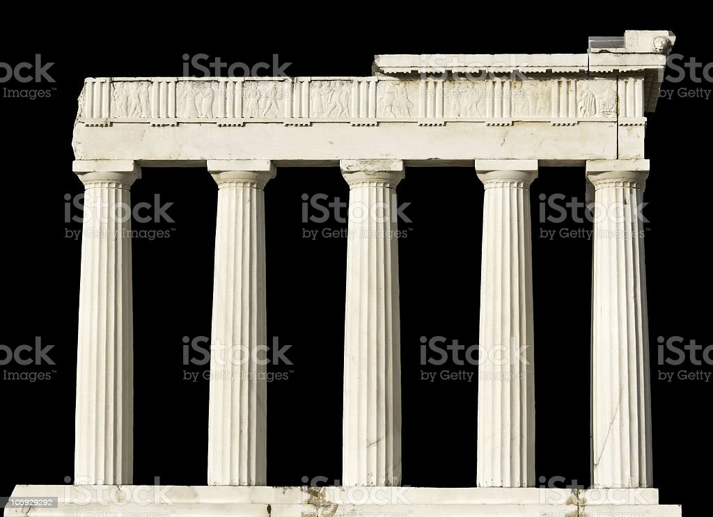 Ancient Greek temple isolated on black royalty-free stock photo